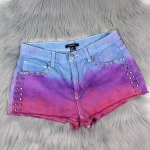 Cotton Candy Ombre Studded Denim Cutoffs